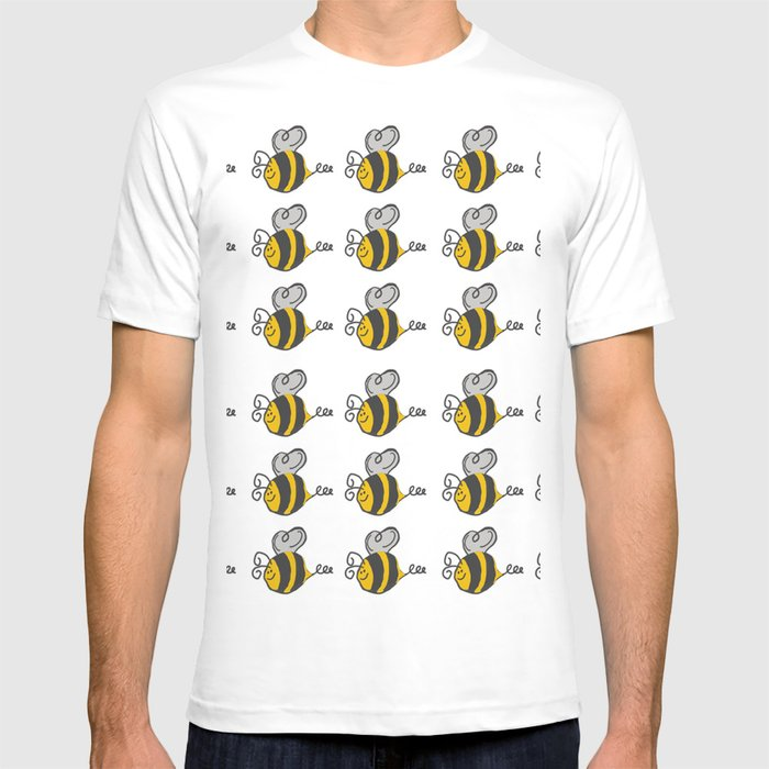 a118895cec Hand drawn black yellow stripes cute honey bee illustration T-shirt ...