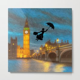 Umbrella Girl  Over London Metal Print