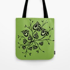 Abstract Floral With Pointy Leaves In Black And Greenery Tote Bag