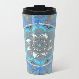 Mint Green, Blue & Aqua Super Boho Medallions Metal Travel Mug
