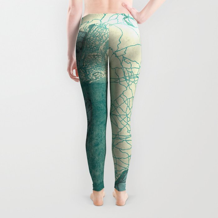 New Jersey State Map Blue Vintage Leggings