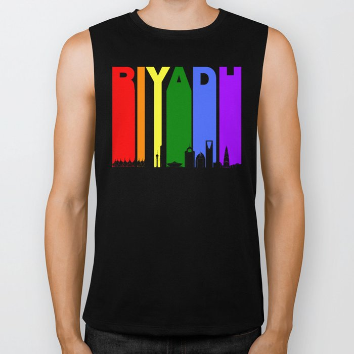 Riyadh Saudi Arabia Gay Pride Rainbow Skyline Biker Tank
