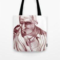 actor Tote Bags featuring 1898 Stage actor by seb mcnulty