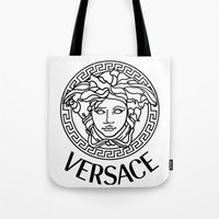 versace Tote Bags featuring Versace Noir by Goldflakes