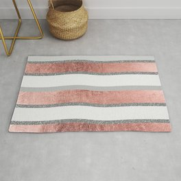 Gray faux silver rose gold geometrical wave stripes Rug