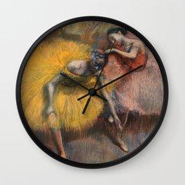 Edgar Degas - Deux Danseuses Jaunes Et Roses Wall Clock
