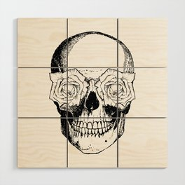 Skull and Roses | Black and White Wood Wall Art