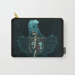 Skeleton with veil and white roses Carry-All Pouch