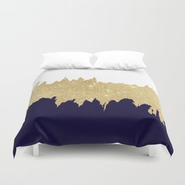 Modern navy blue white faux gold glitter brushstrokes Duvet Cover