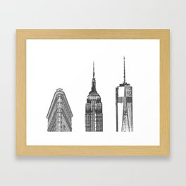 New York City Iconic Buildings-Empire State, Flatiron, One World Trade Framed Art Print