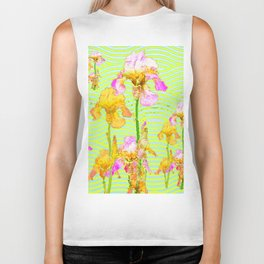 Contemporary Vibrant, Yellow-Purple Iris Pattern Art Biker Tank