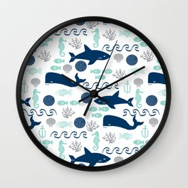 Nautical ocean animals sharks whales seahorses wave pattern sea life Wall Clock