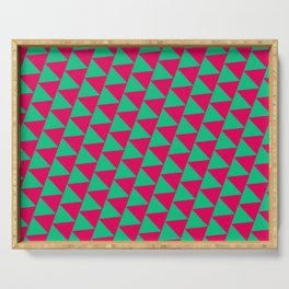 Green and pink triangle graphic Serving Tray