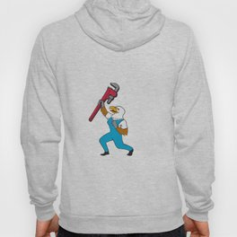 Plumber Eagle Standing Pipe Wrench Cartoon Hoody