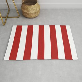 Cornell red - solid color - white stripes pattern Rug