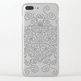 Gray Line Swirl Mandala Clear iPhone Case