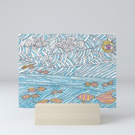 Doodle landscape with water sun fish and clouds Mini Art Print