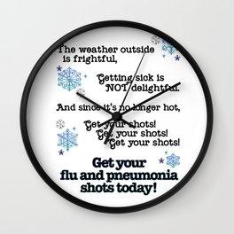 Winter Flu and Pneumonia vaccine signage Wall Clock