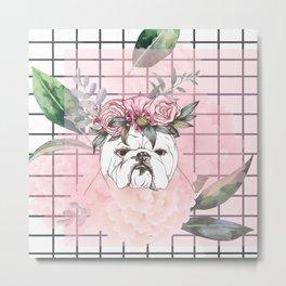 Pitbull Roses Style Metal Print