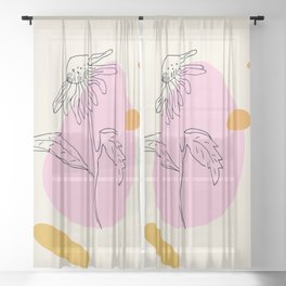 Modern flower and shapes Sheer Curtain