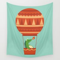 hot Wall Tapestries featuring Dragon On Hot Air Balloon by Picomodi