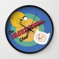 finn and jake Wall Clocks featuring The Jake & Finn Show. by Agu Luque