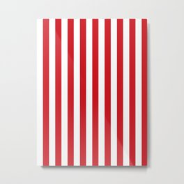 Narrow Vertical Stripes - White and Fire Engine Red Metal Print