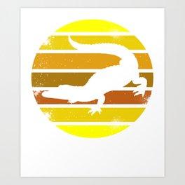 Crocodile Retro Alligator Reptile Animal Art Print