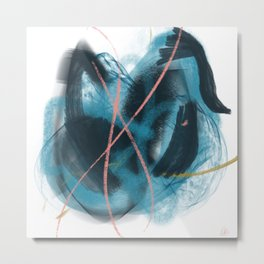 You: a vibrant, minimal, abstract mixed-media piece in blues, gold, and pink Metal Print
