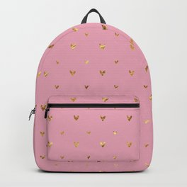 Small sketchy gold hearts pattern on pink background Backpack