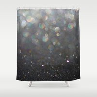 tolkien Shower Curtains featuring There Can Be No Light (Ombré Glitter Abstract) by soaring anchor designs