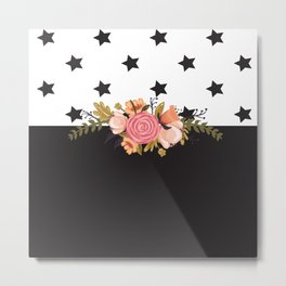 Stars & Flowers In Black And White Metal Print