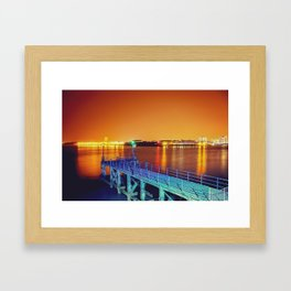 Portsmouth Fisherman's Pier - Orange & Blue Framed Art Print