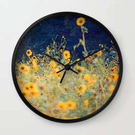 Vagabond Ways -- Summer Rustic Textured Floral Botanical Landscape Sunflowers Wall Clock