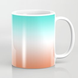 Turquoise White and Coral Ombre Coffee Mug