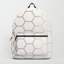 Geometric Honeycomb Pattern - Rose Gold #372 Backpack