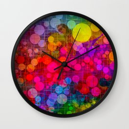 Rainbow Bubbles Abstract Design Wall Clock