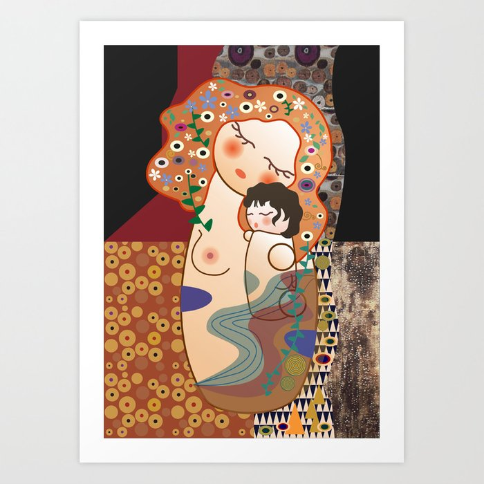 Kokeshi Mother&child Art Print
