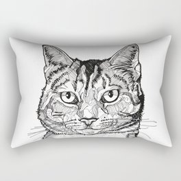 Cat line drawing portrait black and white illustration Rectangular Pillow