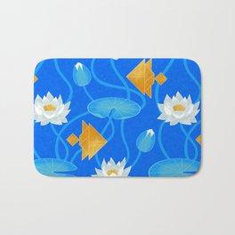 Tangram goldfish and water lilies in blue Bath Mat