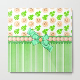 Green Ladybugs and Daisies Metal Print
