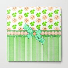 Green Ladybugs and Daisies Metal Print