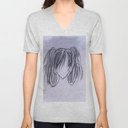 Girl with High Ponytails Unisex V-Neck