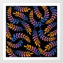 GRADIENT CURVED LEAVES Art Print