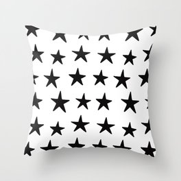 Star Pattern Black On White Throw Pillow