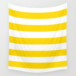 School bus yellow - solid color - white stripes pattern Wall Tapestry