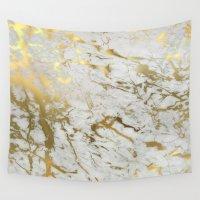 samsung Wall Tapestries featuring Gold marble by Marta Olga Klara