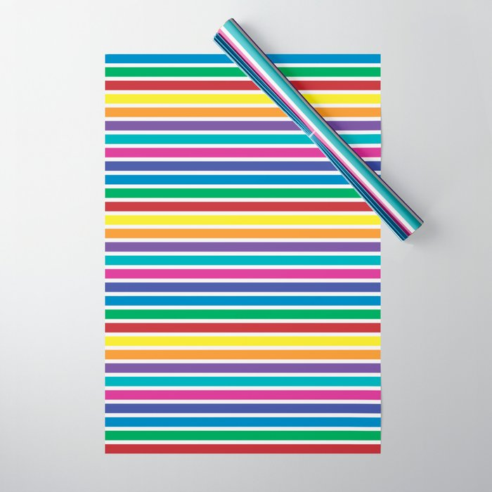 Bold Rainbow Stripes Pattern Wrapping Paper