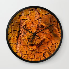 Portrait of a cute dog in tree bark texture Wall Clock