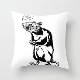 Get Bent Rat Skull Ink Throw Pillow